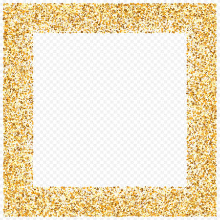 Golden Sequin Festive Transparent Background. Paper Shine Texture. Gold Glow Happy Banner. Confetti Transparent Card.