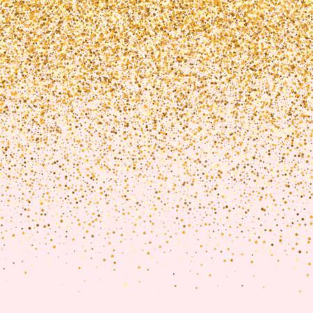 Yellow Dot Glamour Pink Background. Luxury Confetti Postcard. Golden Sparkle Rich Wallpaper. Circle Bridal Invitation.