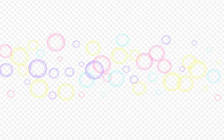 Blue 3d Circle Water Transparent Background. Isolated Soapy Invitation. Rainbow Liquid Round Sphere Card.