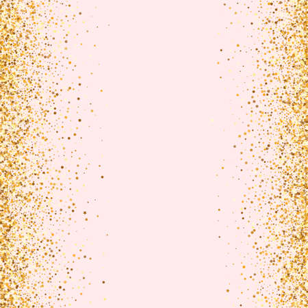 Golden Polka Isolated Pink Background. Paper Sequin Banner. Yellow Dot Modern Background. Confetti Shiny Texture.