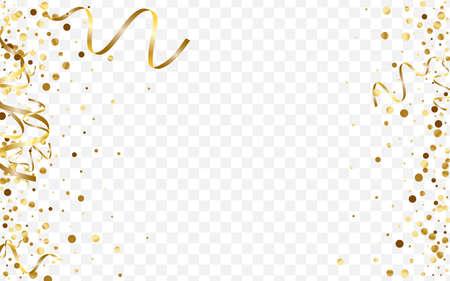 Gold Vector Polka Illustration. Metallic Glitter Pattern. Yellow Dot Round Template. Effect Circle Texture. Golden Birthday Card.