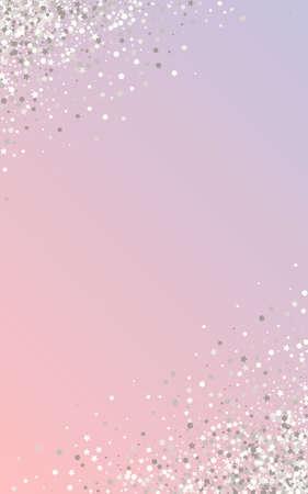 White Sequin Luxury Pink Background. Glamour Rain Card. Silver Circle Transparent Illustration. Sparkle Modern Background.