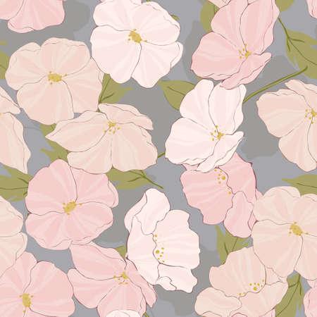 Pink Flowers Spring Vector Seamless Pattern. Elegance Garden Background. Poppy Beautiful Illustration. White Flower Motif. 向量圖像