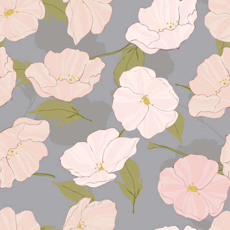 White Blossom Textile Vector Seamless Pattern. Intricate Poppies Texture. Poppy Elegant Print. Pink Flower Pattern.