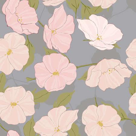 Pink Poppy Beautiful Vector Seamless Pattern. Vintage Flower Wallpaper. Garden Floral Illustration. White Poppies Print.