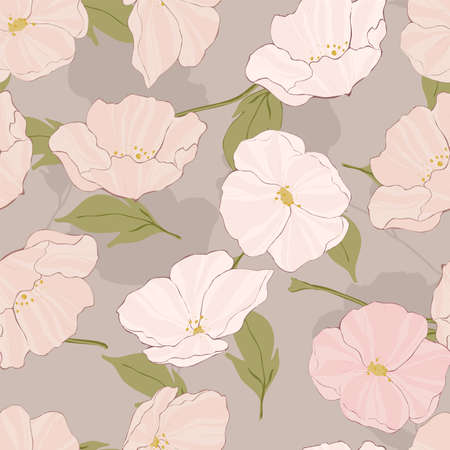 Pink Poppies Watercolor Vector Seamless Pattern. Beautiful Poppy Wallpaper. Blossom Decorative Print. White Flower Background.
