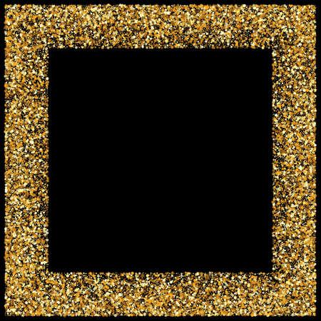Golden Sparkle Falling Black Background. Light Confetti Postcard. Yellow Shine Isolated Invitation. Glow Golden Banner.