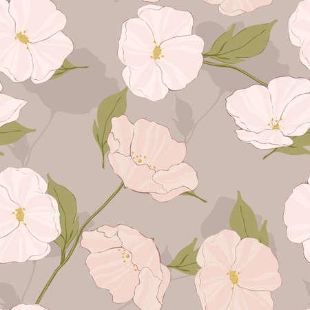Pink Poppy Art Vector Seamless Pattern. Plant Poppies Tile. Flowers Tropical Motif. White Flower Print.