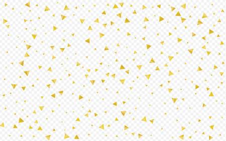 Golden Triangle Light Transparent Background. Festive Shards Postcard. Yellow Sparkle Christmas Illustration. Glow Vector Card.