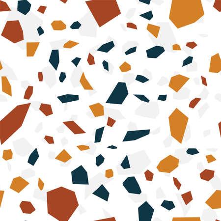 White Terrazzo Wall Vector Seamless Pattern. Quartz Terrazzo Tile Background. Blue and White Ceramic Card.