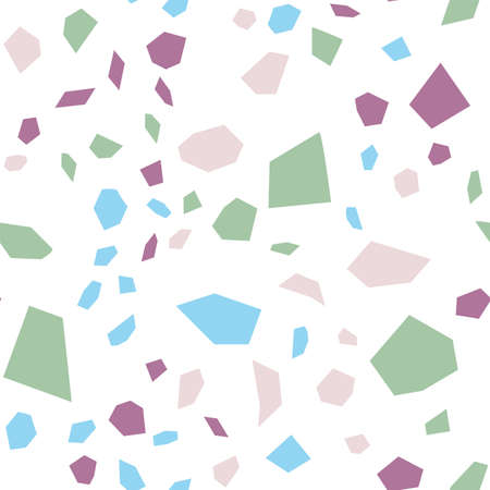 Blue and White Terrazzo Tile Vector Seamless Pattern. Colorful Terrazzo Wall Illustration. and Red Quartz Banner.  イラスト・ベクター素材