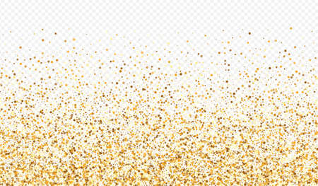 Gold Shine Luxury Transparent Background. Paper Dot Card. Yellow Round Modern Background. Confetti Golden Banner.