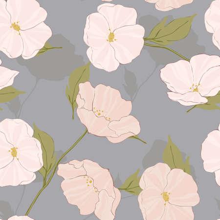 White Flower Foliage Vector Seamless Pattern. Beautiful Garden Tile. Poppies Retro Pattern. Pink Flowers Backdrop.