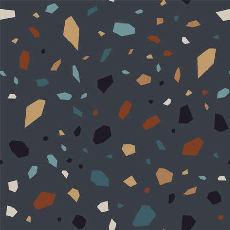 Dark Terrazzo Tile Vector Seamless Pattern. Repeat Terrazzo Wall Pattern. Black and Red Ceramic Banner.  イラスト・ベクター素材