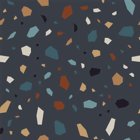 Dark Terrazzo Tile Vector Seamless Pattern. Geometric Terrazzo Wall Pattern. Black and Red Marble Wallpaper.  イラスト・ベクター素材