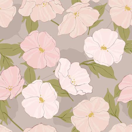 Pink Flowers Botanical Vector Seamless Pattern. Retro Garden Pattern. Flower Elegance Background. White Poppies Design.