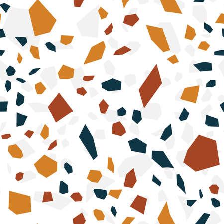 White Terrazzo Tile Vector Seamless Pattern. Concrete Terrazzo Wall Wallpaper. Blue and White Granite Card.