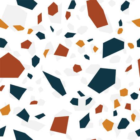 White Terrazzo Wall Vector Seamless Pattern. Modern Terrazzo Tile Pattern. Blue and White Mosaic Background.