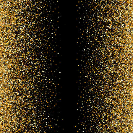 Golden Sparkle Glamour Black Background. Vector Circle Postcard. Yellow Glow Luxury Pattern. Dust Festive Wallpaper.