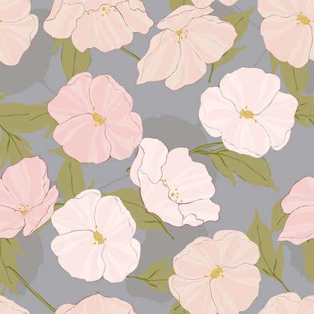 White Poppies Intricate Vector Seamless Pattern. Retro Blossom Illustration. Poppy Elegance Texture. Pink Flowers Motif. 向量圖像