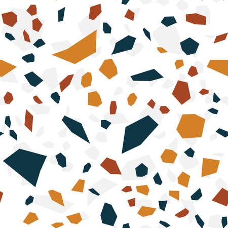Blue and White Terrazzo Tile Vector Seamless Pattern. Quartz Terrazzo Wall Texture. White Mosaic Background.