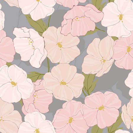 Pink Flower Vintage Vector Seamless Pattern. Textile Poppy Illustration. Blossom Tropical Tile. White Poppies Motif.