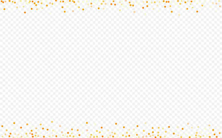 Gold Polka Abstract Transparent Background. Festive Round Pattern. Yellow Confetti Isolated Texture. Splash Vector Wallpaper.