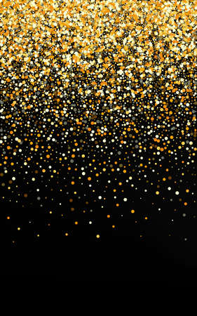 Yellow Sequin Paper Black Background. Vector Dust Background. Gold Dot Effect Pattern. Splash Bright Illustration.