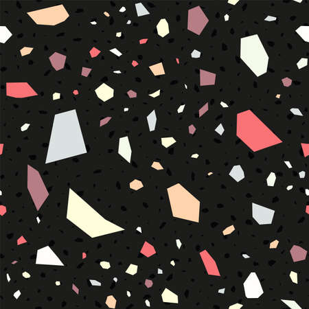 Blue and White Terrazzo Tile Vector Seamless Pattern. Ceramic Terrazzo Wall Illustration. Black and Red Italian Postcard.