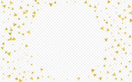 Gold Triangle Art Transparent Background. Happy Sparkle Postcard. Golden Sequin Light Design. Confetti Bridal Illustration.