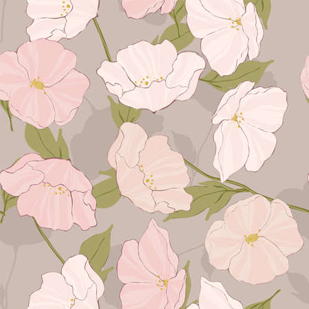 Pink Poppies Floral Vector Seamless Pattern. Beautiful Garden Motif. Poppy Plant Texture. White Blossom Pattern.