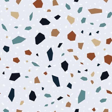 and Red Terrazzo Tile Vector Seamless Pattern. Ceramic Terrazzo Wall Banner. White Granite Texture.  イラスト・ベクター素材