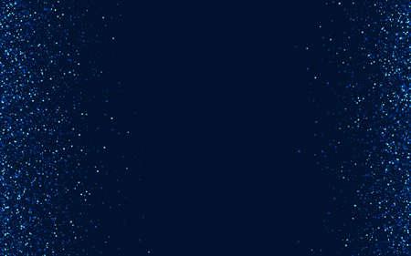 Silver Elegant Digital Glitter Design. White Holiday Shine Border. Star Vector Template. Blue Xmas Glow Pattern. Illustration