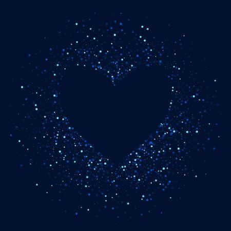 Blue Celebration Digital Rain Pattern. White Xmas Starry Design. Universe Vector Wallpaper. Dark Glamour Sparkle Template.
