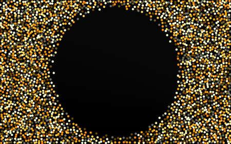 Golden Polka Holiday Black Background. Vector Circle Pattern. Yellow Round Modern Design. Dust Anniversary Texture. Illustration