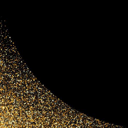 Gold Splash Light Black Background. Abstract Rain Design. Golden Confetti Festive Illustration. Dot Bridal Texture.