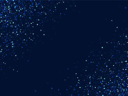 Blue Luxury Digital Dust Wallpaper. Dark Festive Confetti Border. Rain Vector Texture. Silver Abstract Sky Background.