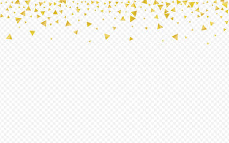 Yellow Shard Modern Transparent Background. Isolated Confetti Postcard. Golden Triangle Falling Design. Glow Christmas Backdrop.