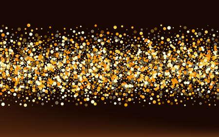 Gold Circle Glamour Brown Dark Background. Rich Shine Pattern. Yellow Splash Modern Background. Glow Falling Texture.