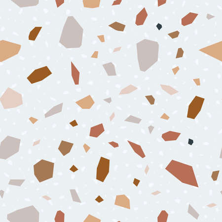 Blue and White Terrazzo Tile Vector Seamless Pattern. Quartz Terrazzo Wall Banner. and Red Colorful Pattern.  イラスト・ベクター素材