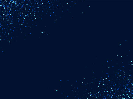 White Shiny Digital Star Template. Blue Abstract Starry Design. Sparkle Graphic Illustration. Dark Glamour Universe Border.