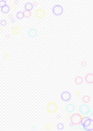 Colored Soap Bubble Realistic Transparent Background. Abstract Foam Banner. Blue Effect Soapy Design. 矢量图像