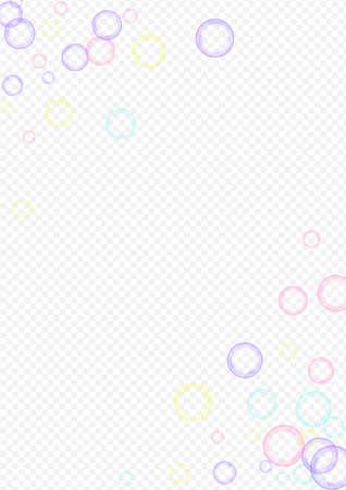 Colored Soap Bubble Realistic Transparent Background. Abstract Foam Banner. Blue Effect Soapy Design. Ilustração