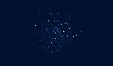 Dark Shimmer Graphic Starry Background. Blue Cosmos Space Texture. Glitter Vector Border. White Celebration Confetti Illustration. Ilustracja