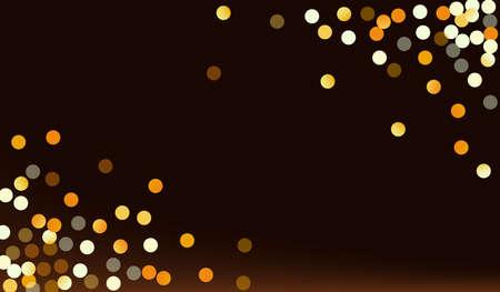 Yellow Dot Rich Brown Dark Background. Bright Sparkle Illustration. Golden Shine Glamour Design. Rain Christmas Card. Ilustracja