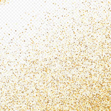 Golden Rain Effect Transparent Background. Falling Shine Background. Yellow Sparkle Rich Invitation. Circle Luxury Wallpaper. Ilustracja