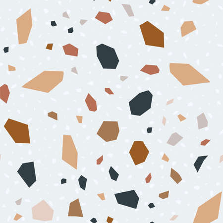 White Terrazzo Wall Vector Seamless Pattern. Concrete Terrazzo Tile Card. and Red Italian Banner.