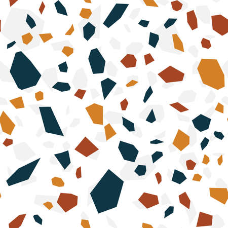 Blue and White Terrazzo Wall Vector Seamless Pattern. Graphic Terrazzo Tile Texture. White Stone Postcard.