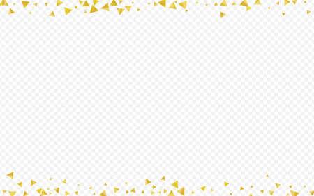 Golden Sequin Anniversary Transparent Background. Festive Triangle Card. Yellow Glow Effect Texture. Shards Art Pattern.