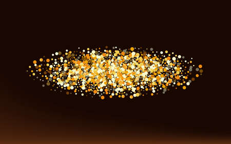 Yellow Circle Isolated Brown Dark Background. Rich Confetti Backdrop. Gold Sparkle Christmas Background. Shine Bridal Invitation.